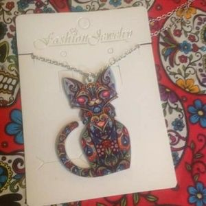 Jewelry - Day of the dead cat necklace